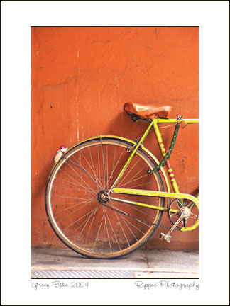 Fine Art Photorgaphy 2007 Italy Trip: Green Bike in Bolonga Italy #i00169