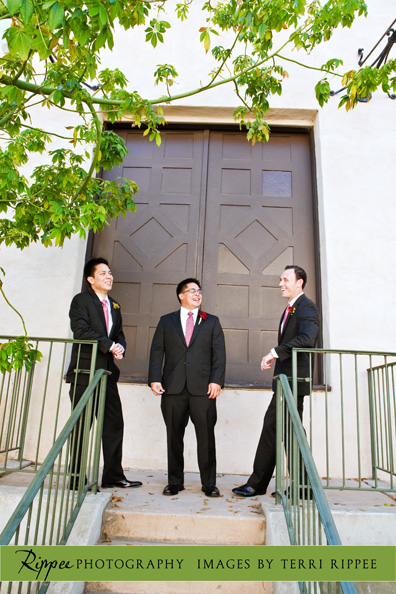 Erin and Erwin's Wedding at the Prado in Balboa Park: Groom Standing with Groomsmen on Stairs