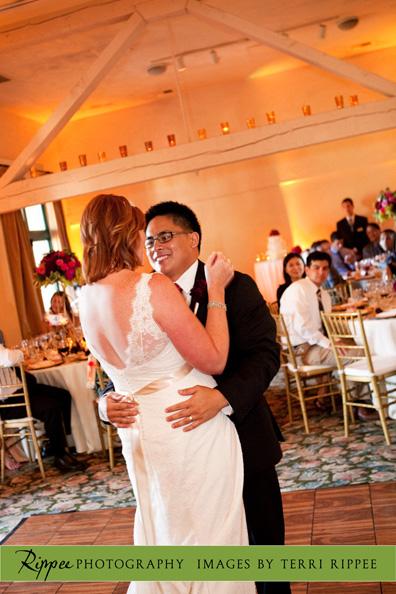 Erin and Erwin's Wedding at the Prado in Balboa Park: Groom Smiling at Bride