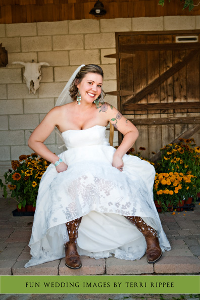 Menghini Winery Wedding: Bride in Cowboy Boots