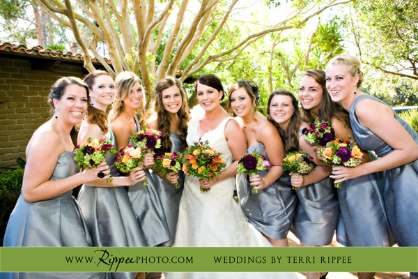 Megan and Steve Rancho Valencia Wedding: Happy Brides and Bridesmaids