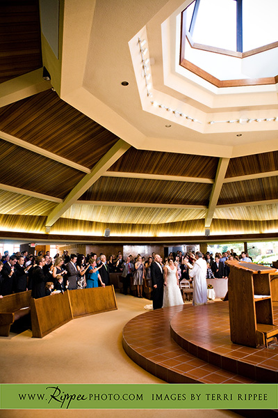 Megan and Steve Rancho Valencia Wedding: Standing in Front of Preacher