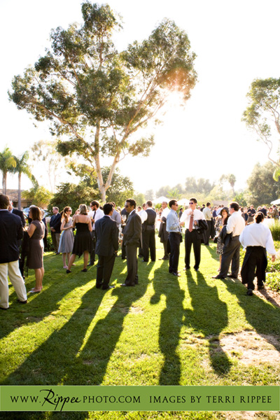 Megan and Steve Rancho Valencia Wedding: Outside on the Lawn