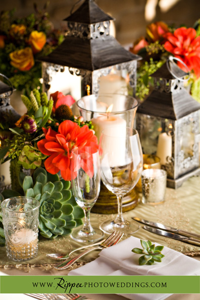 Megan and Steve Rancho Valencia Wedding: The Table Decorations