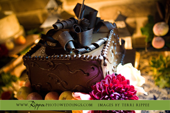 Megan and Steve Rancho Valencia Wedding: Chocolate Cake with Chocolate Shavings