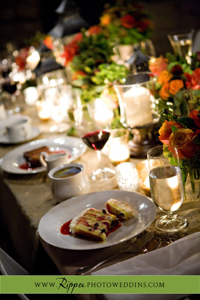 Megan and Steve Rancho Valencia Wedding: Beatiful Wedding Table Setting With Dessert