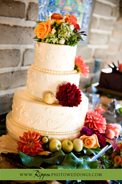 Megan and Steve Rancho Valencia Wedding: Decorated White Wedding Cake