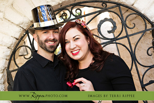 Melina and Jeff's Anniversary at Leo Carrillo Ranch: Smiling in Front of Gate