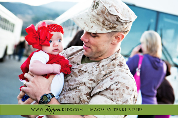 Military Homecoming: Holding Baby Lynley for the first time