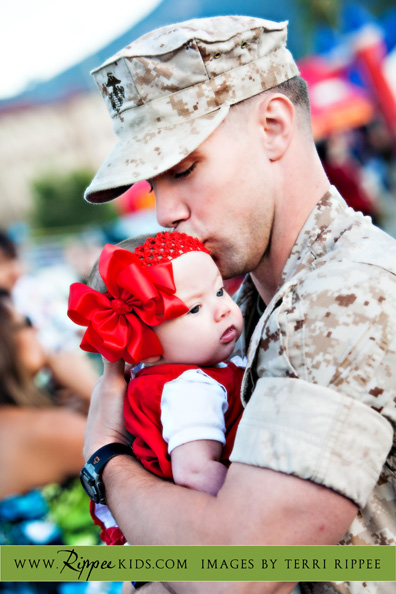Military Homecoming: Kisses from Dad on the forehead