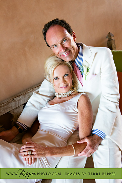 Wedding at Rancho Valencia Resort Del Mar: Bride relaxing on Groom's Chest