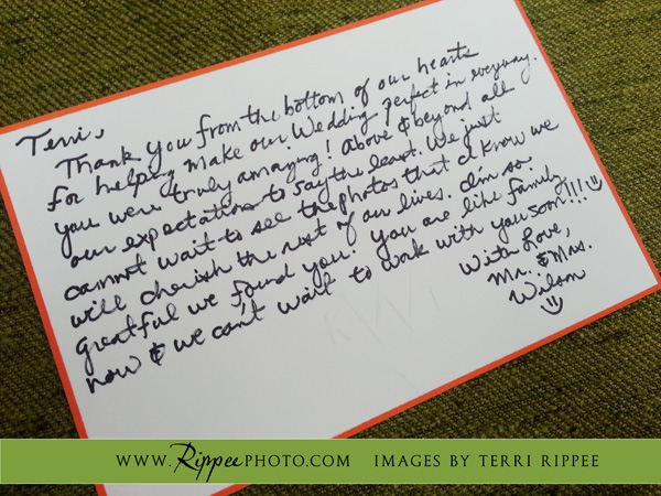 Borrego Springs Wedding: Great Thank You Note From Bride and Groom