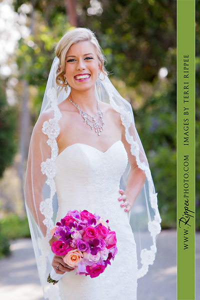 Jill and Sam Balboa Park Wedding: Bride Holding Bouquet of Flowers Posing