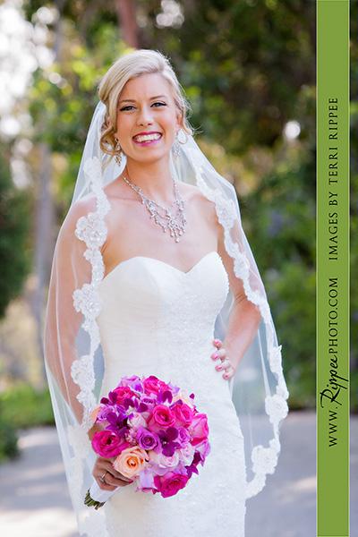 Jill and Sam Balboa Park Wedding: Bride Holding Bouquet of Flowers Posing