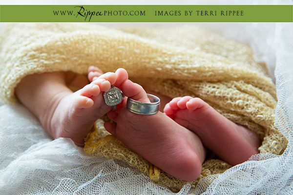 Point Loma Newborn Twins: Hydson and Madison with Rings on Toes